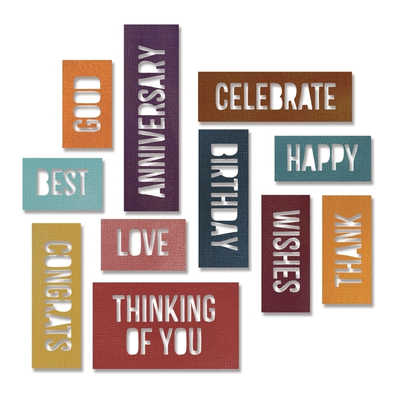 Tim Holtz Sizzix CELEBRATION WORDS BLOCK Thinlits Die 660211 zoom image