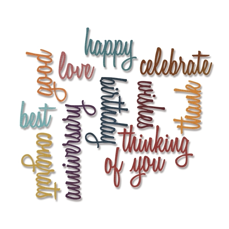 Tim Holtz Sizzix CELEBRATION WORDS SCRIPT Thinlits Die 660223 zoom image