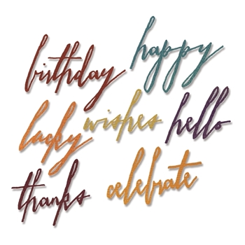 Tim Holtz Sizzix HANDWRITTEN CELEBRATE Thinlits Die 660215