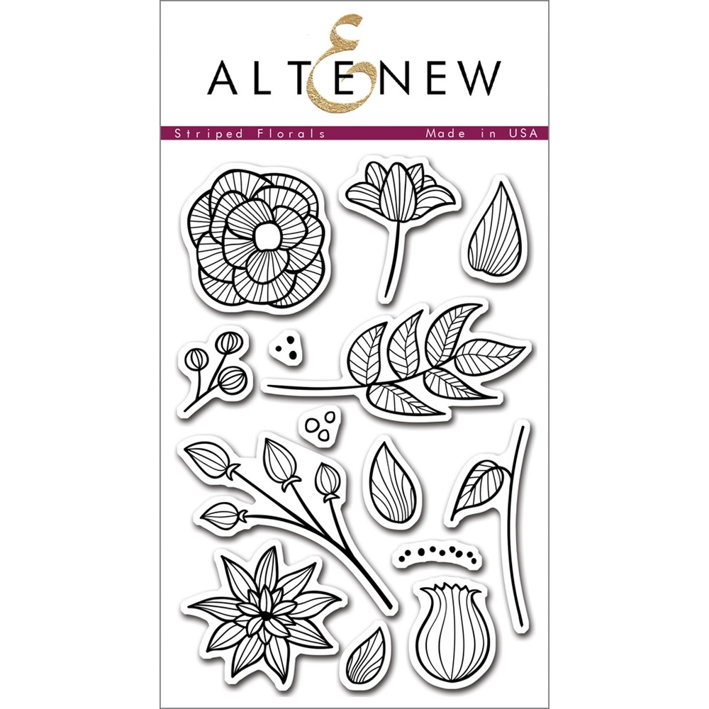 Altenew STRIPED FLORALS Clear Stamp Set ALT1016 zoom image