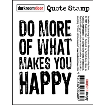 Darkroom Door Cling Stamp HAPPY Quote Rubber UM DDQS018