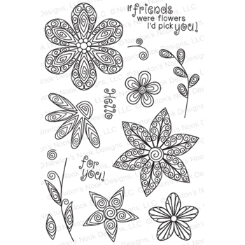 Newton's Nook Designs BEAUTIFUL BLOSSOMS Clear Stamp Set 20150301