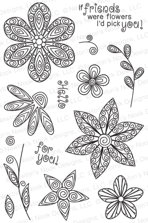 Newton's Nook Designs BEAUTIFUL BLOSSOMS Clear Stamp Set 20150301 zoom image