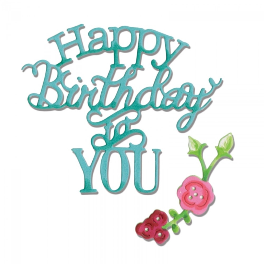 Sizzix HAPPY BIRTHDAY TO YOU PHRASE Thinlits Die Set 660368 zoom image