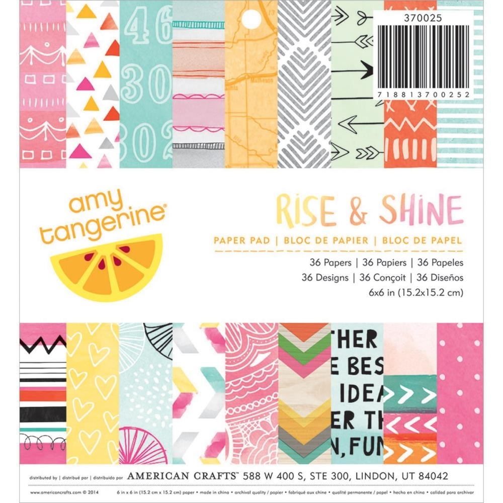 American Crafts Amy Tangerine 6 x 6 RISE AND SHINE Paper Pad 370025 zoom image