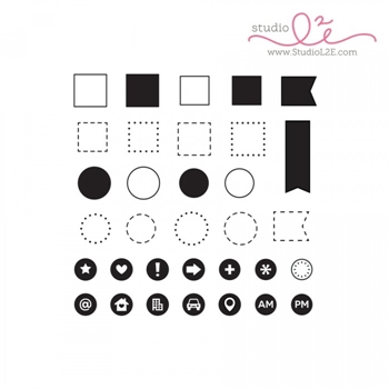 Studio L2E ICONIC OUTLINES Clear Stamp set