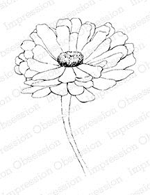 Impression Obsession Cling Stamp ZINNIA Set E16055* Preview Image