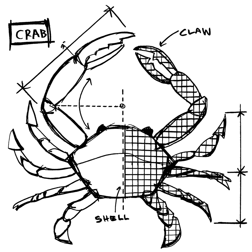 Tim Holtz Rubber Stamp CRAB SKETCH Stampers Anonymous U2-2638 zoom image