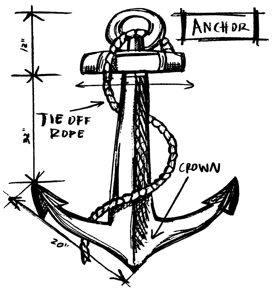 Tim Holtz Rubber Stamp ANCHOR SKETCH Stampers Anonymous P1-2635 zoom image