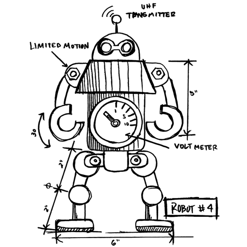 Tim Holtz Rubber Stamp  ROBOT SKETCH Stampers Anonymous P1-2631* Preview Image