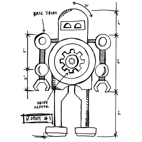 Tim Holtz Rubber Stamp ROBOT 1 SKETCH Stampers Anonymous P4-2632 Preview Image