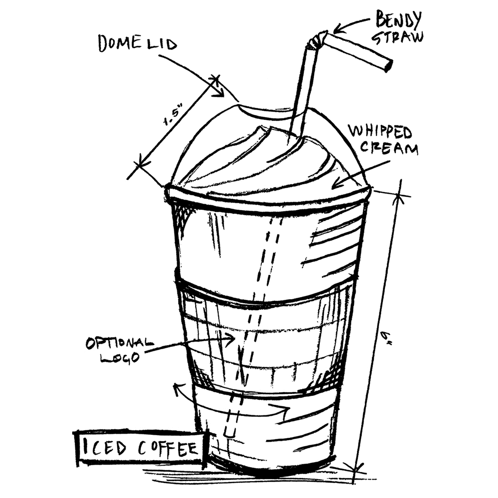 Tim Holtz Rubber Stamp ICED COFFEE SKETCH Stampers Anonymous U1-2630 zoom image