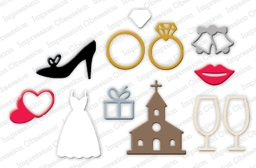 Impression Obsession Steel Die WEDDING ICONS Set DIE245-S zoom image