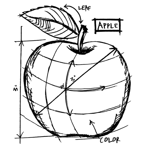 Tim Holtz Rubber Stamp  APPLE SKETCH Stampers Anonymous M4-2623 Preview Image