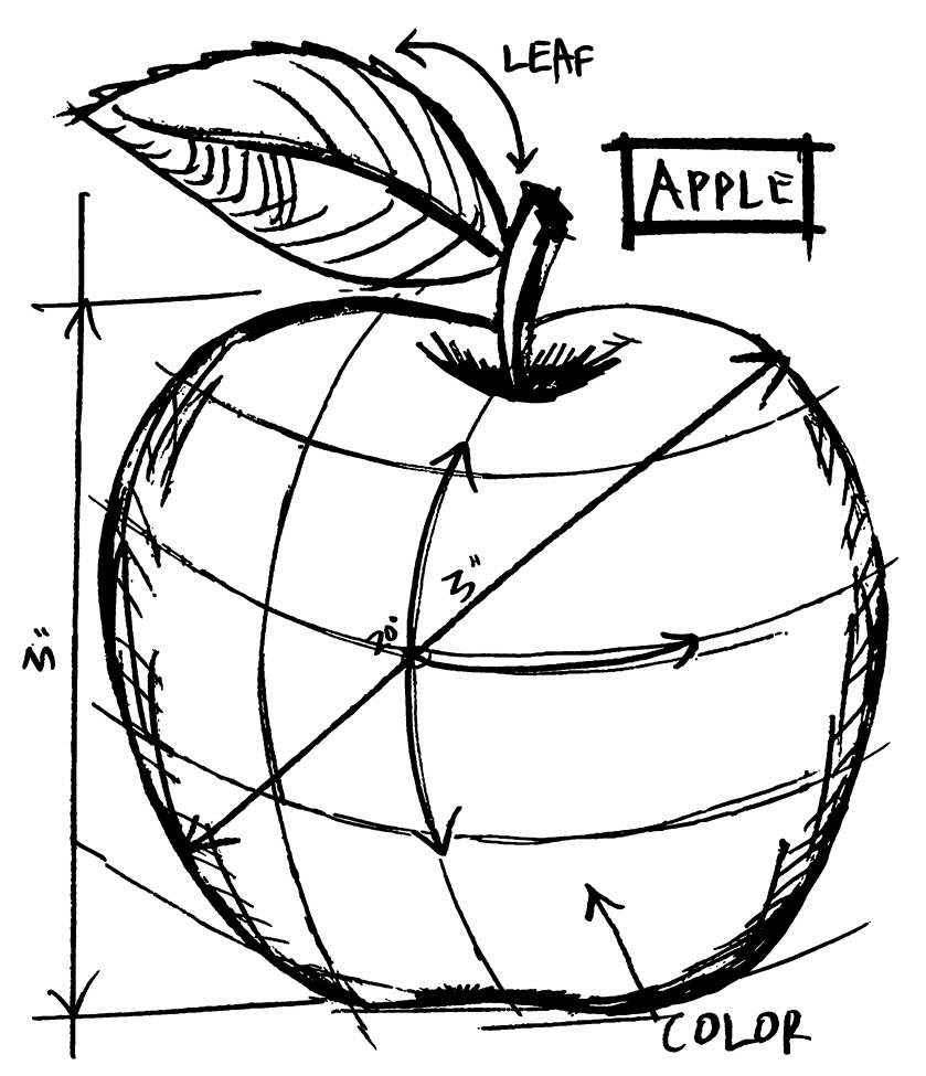 Tim Holtz Rubber Stamp  APPLE SKETCH Stampers Anonymous M4-2623 zoom image