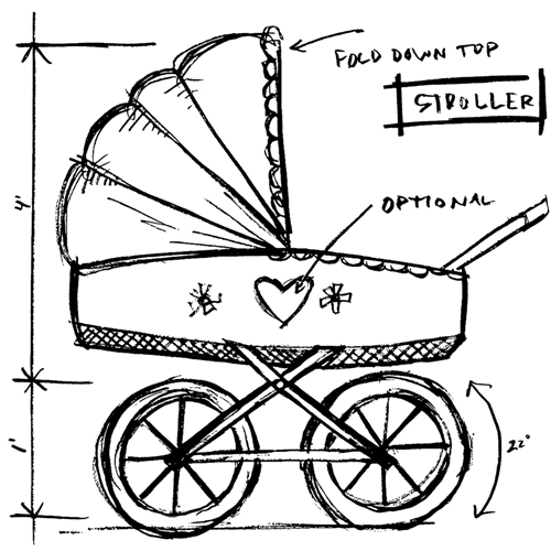 Tim Holtz Rubber Stamp STROLLER SKETCH Stampers Anonymous U2-2618 Preview Image