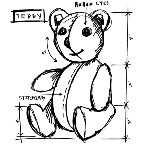 Tim Holtz Rubber Stamp TEDDY SKETCH Stampers Anonymous U2-2622 Preview Image