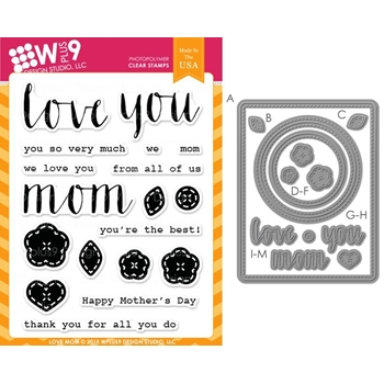 Wplus9 LOVE MOM SET Clear Stamp And Die Combo SETWP9LM