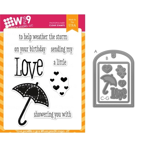 Wplus9 LOVE SHOWERS SET Clear Stamp And Die Combo SETWP9LSH Preview Image