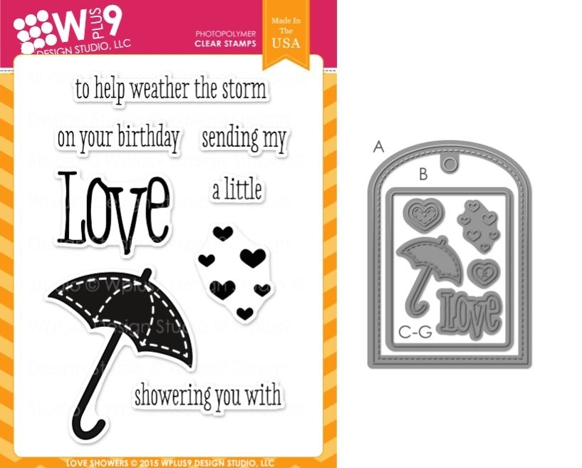 Wplus9 LOVE SHOWERS SET Clear Stamp And Die Combo SETWP9LSH zoom image