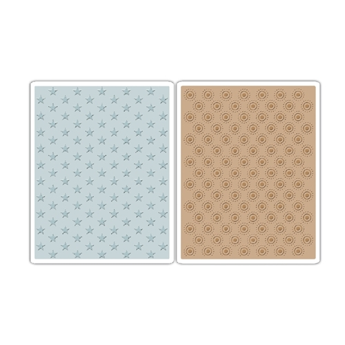 Tim Holtz Sizzix TINY STARS AND DOTTED BULLSEYE Texture Fades Embossing Folders 660249* Preview Image