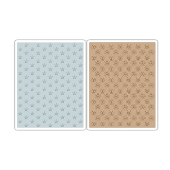 Tim Holtz Sizzix TINY STARS AND DOTTED BULLSEYE Texture Fades Embossing Folders 660249
