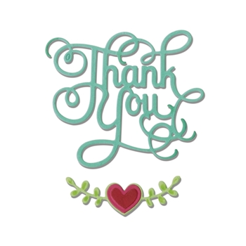 Sizzix THANK YOU PHRASE WITH HEARTS Thinlits Die Set 660370