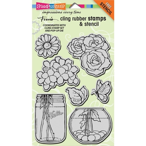 Stampendous Cling Stamps BUILD A BOUQUET SET With Stencil UM Rubber CRS5074 Preview Image