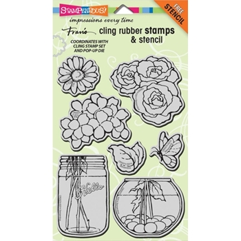 Stampendous Cling Stamps BUILD A BOUQUET SET With Stencil UM Rubber CRS5074