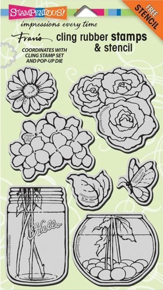 Stampendous Cling Stamps BUILD A BOUQUET SET With Stencil UM Rubber CRS5074 zoom image