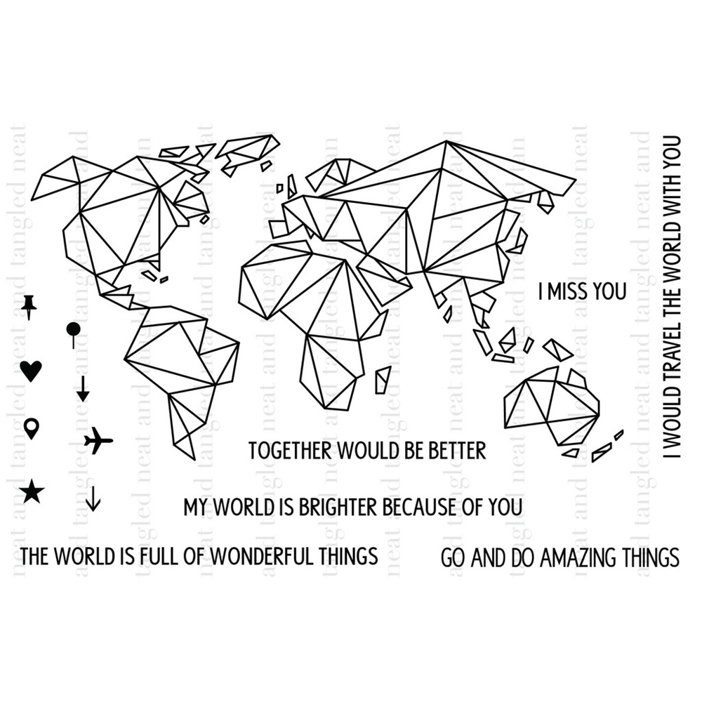 Neat and Tangled ORIGAMI MAP Clear Stamp Set  zoom image