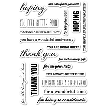 Memory Box Clear Stamps HOPE AND THANKS POPPY STAMPS CL405