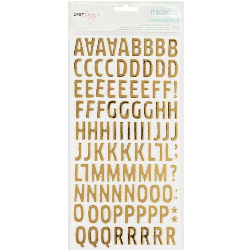 American Crafts Dear Lizzy WOODLAND GOLD Foil Alphabet Foam Stickers Thickers Fine and Dandy 370089 Preview Image
