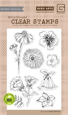 Hero Arts Clear Stamps TEA FLOWERS BasicGrey CL858 zoom image