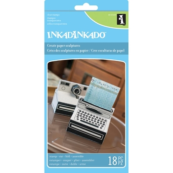 Inkadinkado Paper Sculpture Clear Stamp Set CAMERA AND TYPEWRITER Set 60-31254