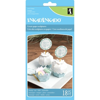 Inkadinkado Paper Sculpture Clear Stamp Set CUPCAKE CONTAINER Set 60-31253*