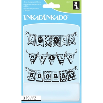 Inkadinkado Inchies PENNANTS Clear Stamps And Block 60-31274