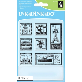 Inkadinkado Inchies TRAVEL POSTAGE STAMPS Clear Stamps And Block 60-31259