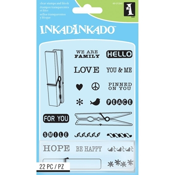 Inkadinkado Inchies CLOTHES PINS Clear Stamps And Block 60-31260