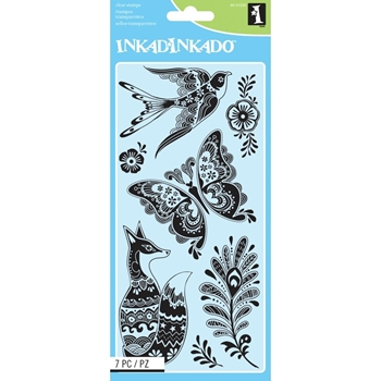 Inkadinkado FANCY FAUNA Clear Stamp Set 60-31258 *
