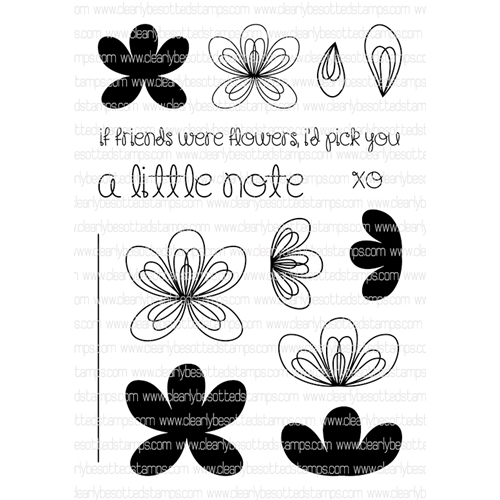 Clearly Besotted SCRIBBLE FLOWERS Clear Stamp Set  Preview Image