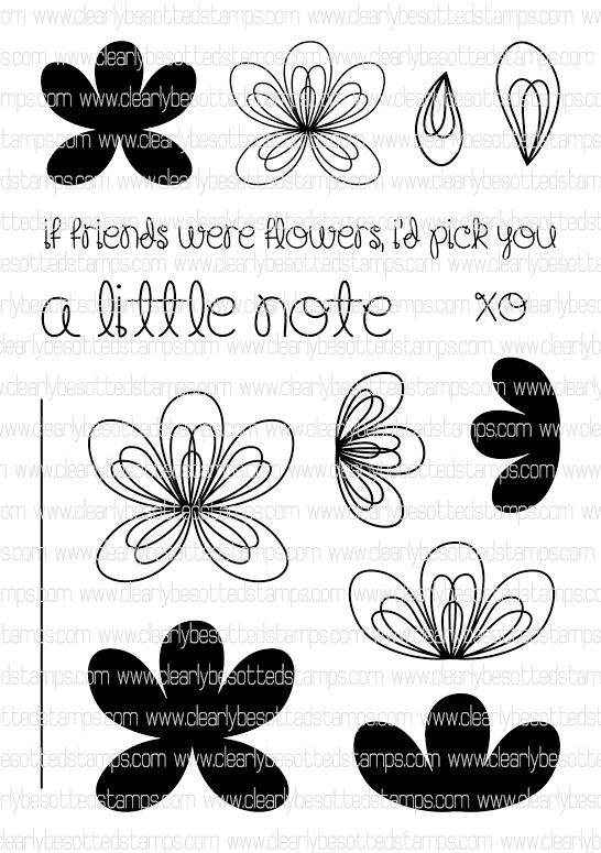 Clearly Besotted SCRIBBLE FLOWERS Clear Stamp Set  zoom image