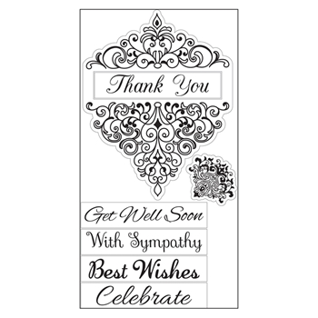 Sizzix Interchangeable Clear Stamps DAMASK GREETINGS 660560