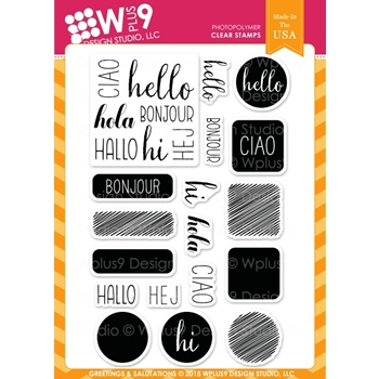 Wplus9 GREETINGS AND SALUTATIONS Clear Stamps CLWP9GS