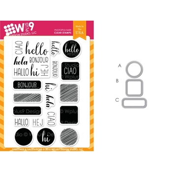 Wplus9 GREETINGS AND SALUTATIONS SET Clear Stamp And Die Combo SETWPLUS233*