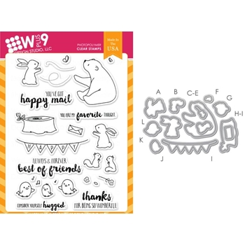 Wplus9 HAPPY MAIL SET Clear Stamp And Die Combo SETWPLUS236