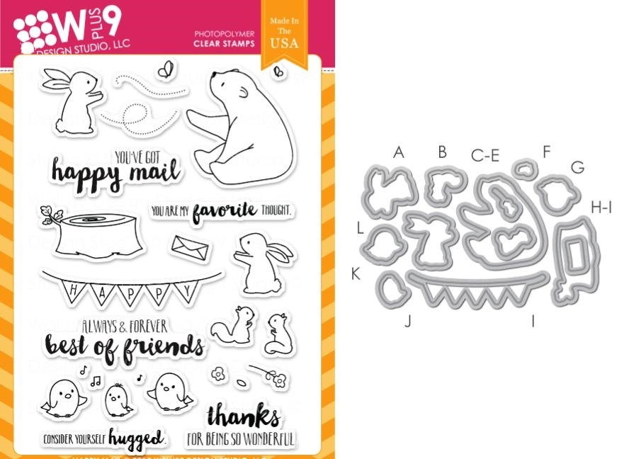 Wplus9 HAPPY MAIL SET Clear Stamp And Die Combo SETWPLUS236 zoom image