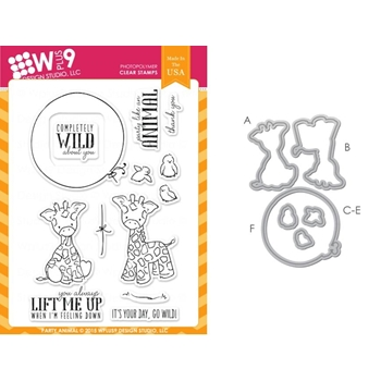 Wplus9 PARTY ANIMAL SET Clear Stamp And Die Combo SETWPLUS240