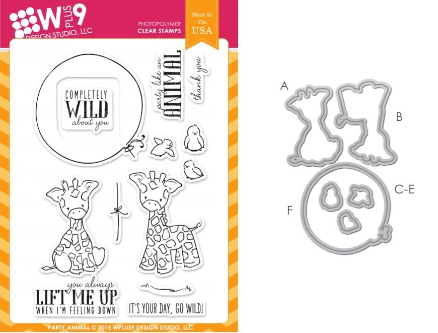 Wplus9 PARTY ANIMAL SET Clear Stamp And Die Combo SETWPLUS240 zoom image