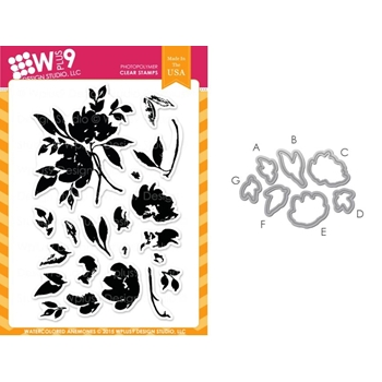 Wplus9 WATERCOLORED ANEMONES SET Clear Stamp And Die Combo SETWPLUS243